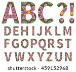 vector decorative alphabet with ... | Shutterstock .eps vector #459152968