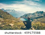 traveler man relaxing... | Shutterstock . vector #459175588