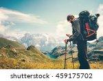 man traveler backpacker with... | Shutterstock . vector #459175702