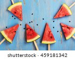 watermelon popsicles and seeds... | Shutterstock . vector #459181342