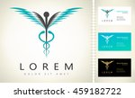 caduceus medical logo. emblem... | Shutterstock .eps vector #459182722