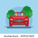 the driver and passenger travel ... | Shutterstock .eps vector #459227605