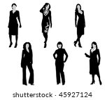 black silhouettes of the women... | Shutterstock .eps vector #45927124