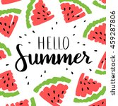 card with watermelon and... | Shutterstock . vector #459287806