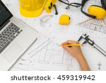 hand over construction plans... | Shutterstock . vector #459319942