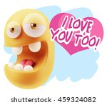 3d rendering. emoticon face... | Shutterstock . vector #459324082