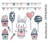 set of hand drawn cute bunnies... | Shutterstock .eps vector #459365932