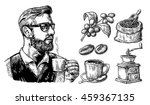 hipster holding a cup of hot... | Shutterstock .eps vector #459367135