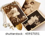 Vintage First Communion photos - stock photo