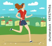 cartoon cheerful running woman. ... | Shutterstock .eps vector #459379456