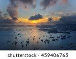 sunset from harbour in hongkong ... | Shutterstock . vector #459406765