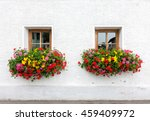 two windows with flowers of... | Shutterstock . vector #459409972