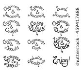 set 1 of curly hand drawn... | Shutterstock .eps vector #459417688