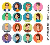 cartoon male and female faces... | Shutterstock .eps vector #459421132
