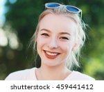 beautiful blond teen girl with... | Shutterstock . vector #459441412