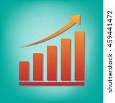 growing graph icon vector flat...
