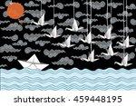 Paper Boat  Cranes Card