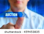 """auction"" button. a man press... 