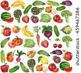 watercolor set with fruits and... | Shutterstock . vector #459467386