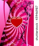 Vector Valentine Background 2 with hearts and scrolls. - stock vector