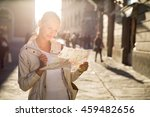 gorgeous female tourist with a... | Shutterstock . vector #459482656
