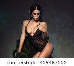 sexy elegant brunette woman... | Shutterstock . vector #459487552