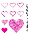 set of 9 vector heart shapes in ... | Shutterstock .eps vector #45949615
