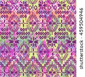 aztec print over painted ikat... | Shutterstock . vector #459504946