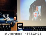 Small photo of HAIFA, ISRAEL JULY 26: Astronaut Dr. Edward (Buzz) Aldrin giving a talk with a funny picture of him during the Space Studies Program 2016 (SSP16) hosted by the Technion, Haifa, Israel, July 26, 2016