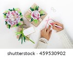gifts in colorful festive... | Shutterstock . vector #459530902