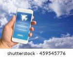 woman hand holding smartphone...   Shutterstock . vector #459545776