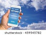 woman hand holding smartphone... | Shutterstock . vector #459545782