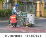 workers with road painting... | Shutterstock . vector #459557815