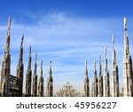 gothic spires  roof of duomo... | Shutterstock . vector #45956227
