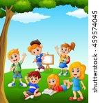 happy kid learning on the field | Shutterstock . vector #459574045
