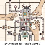 hands tuning steampunk strange... | Shutterstock .eps vector #459588958