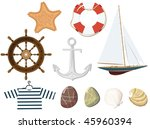 set of the marine objects.... | Shutterstock .eps vector #45960394