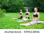 group woman doing yoga in park. ... | Shutterstock . vector #459613846