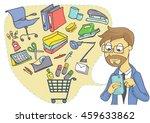 business man shopping online...   Shutterstock .eps vector #459633862