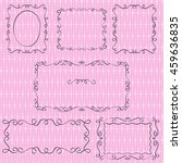 set of black doodle borders on... | Shutterstock .eps vector #459636835