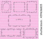 set of black doodle borders on... | Shutterstock .eps vector #459636835