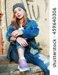 beautiful hipster girl urban... | Shutterstock . vector #459640306