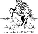 Vintage Wild West line drawing of a Cowgirl riding a Wild Horse at a Rodeo - stock vector