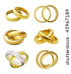 3d gold wedding rings  isolated ... | Shutterstock . vector #45967189