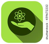 atom and hand icon  vector logo ...