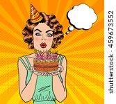 pretty happy girl blowing... | Shutterstock .eps vector #459673552