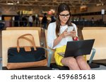 airport young female passenger... | Shutterstock . vector #459685618