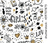Women Seamless pattern. Woman thinking. Hand drawn women illustration. Women's feelings and dreams. Women's accessories and cosmetics. Doodle sketch background