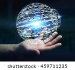 businessman in office touching... | Shutterstock . vector #459711235
