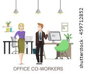 cute office co workers  woman... | Shutterstock .eps vector #459712852